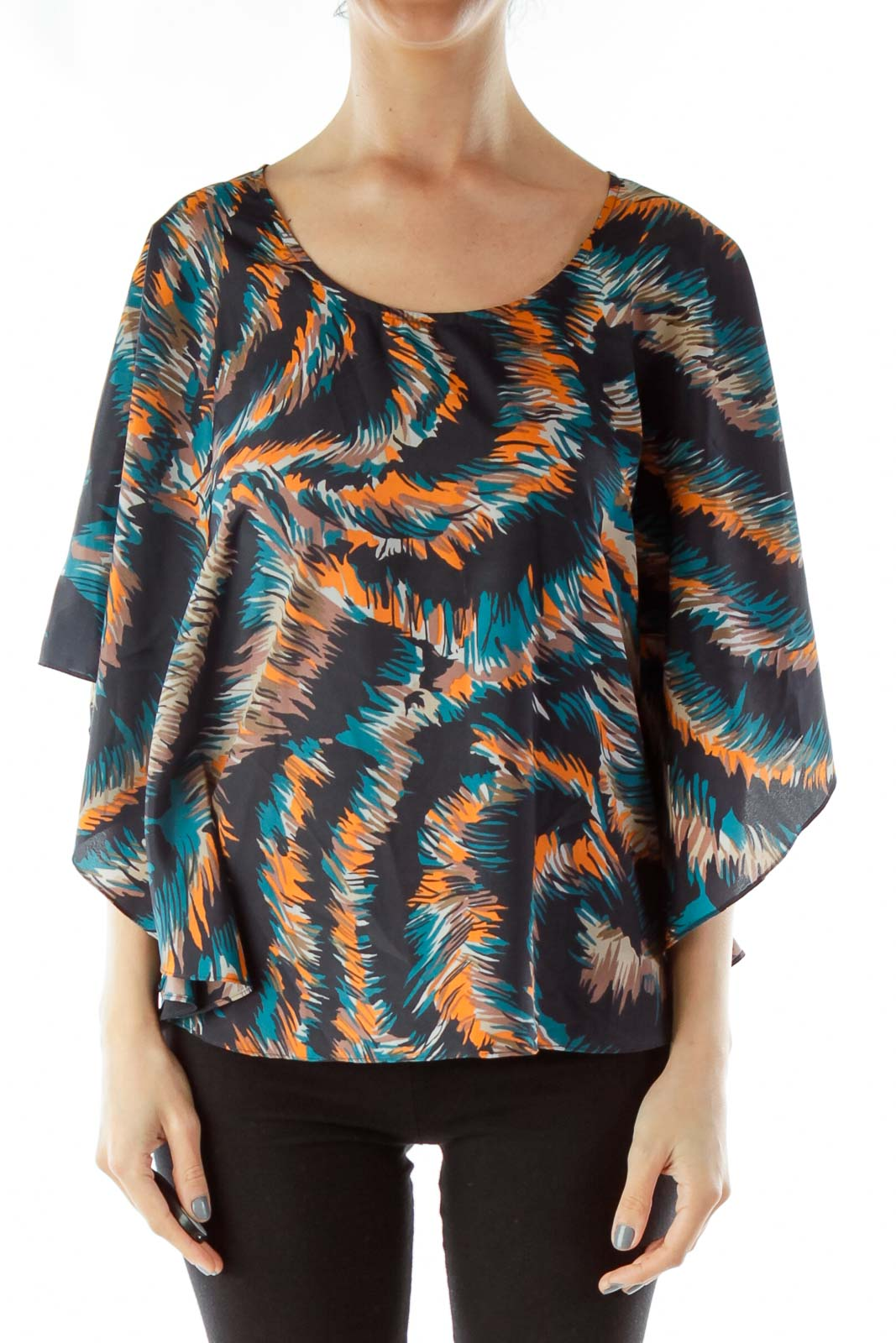Black Multicolor Bat-Sleeve Top