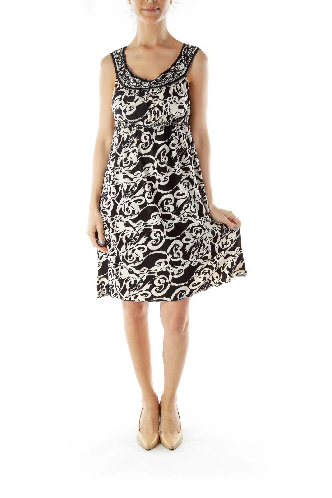 Black White Print Dress with Boat Neckline