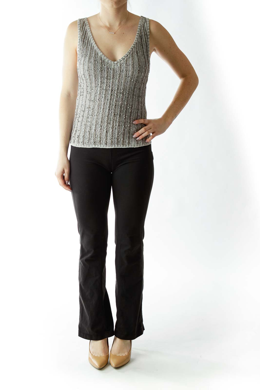 Gray Sequined V-Neck Tank Top