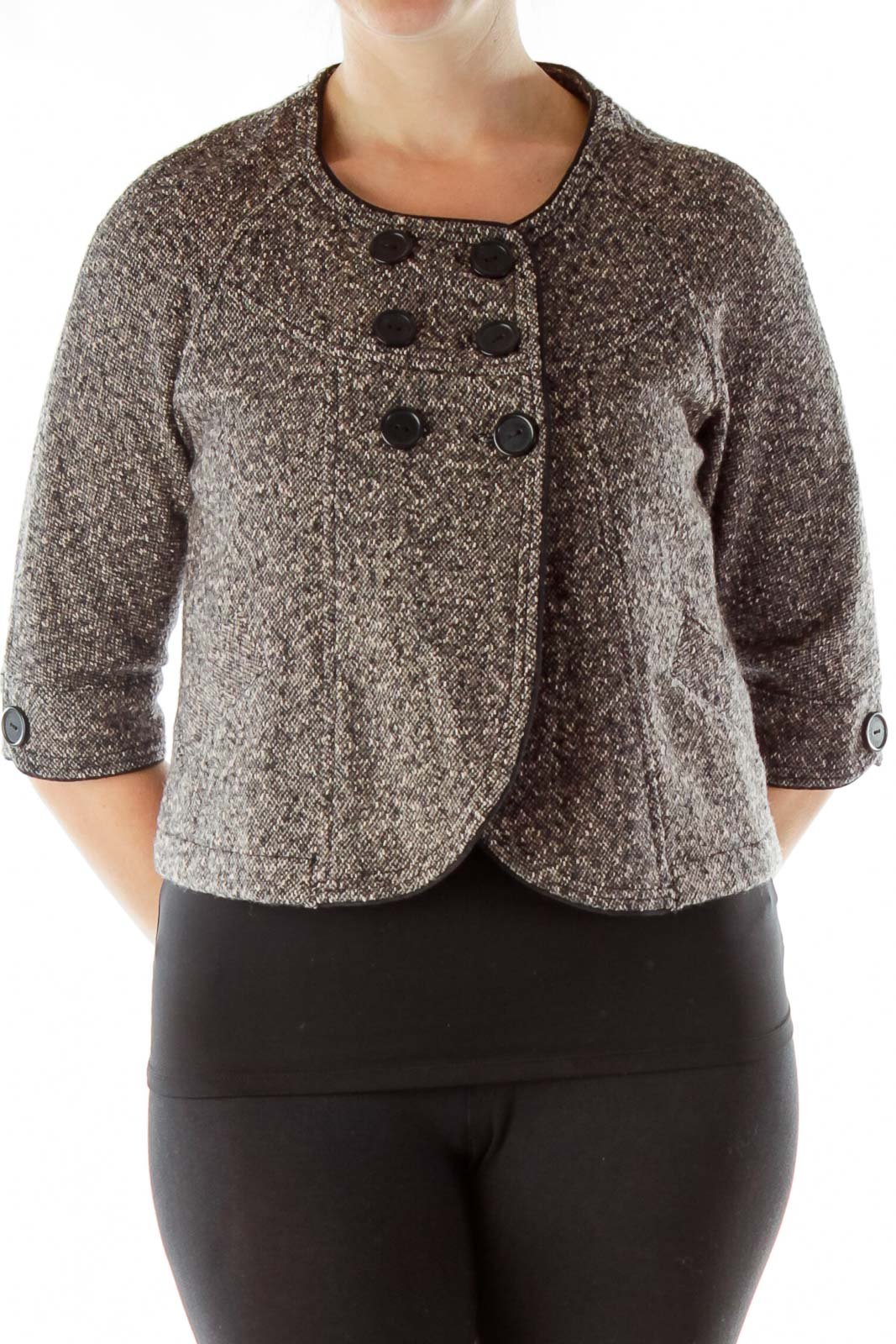 Multicolor Mottled Double-Breasted Wool Tweed Jacket