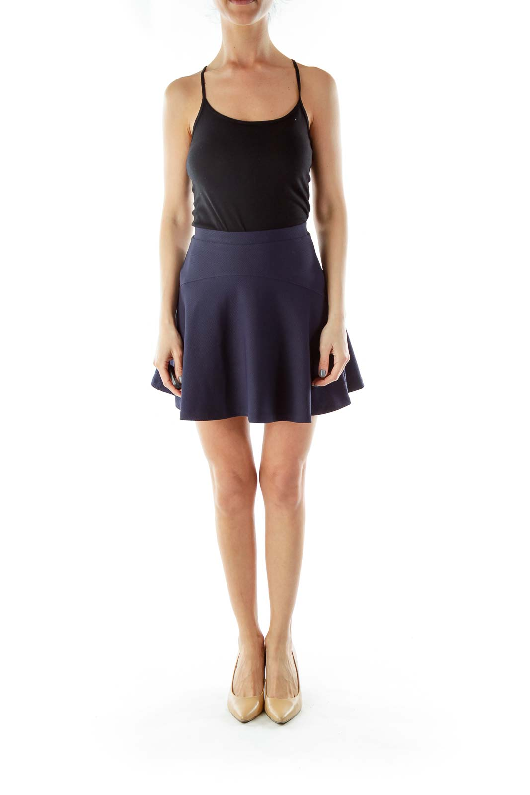 Black Flared Skirt with Hole Details