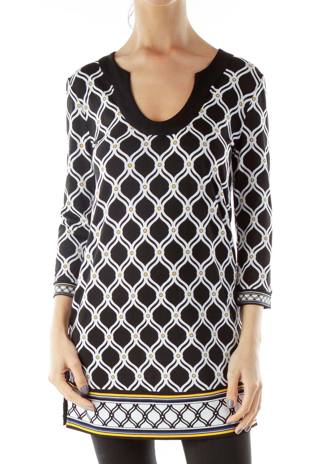 Black White Yellow Geometric Print Dress