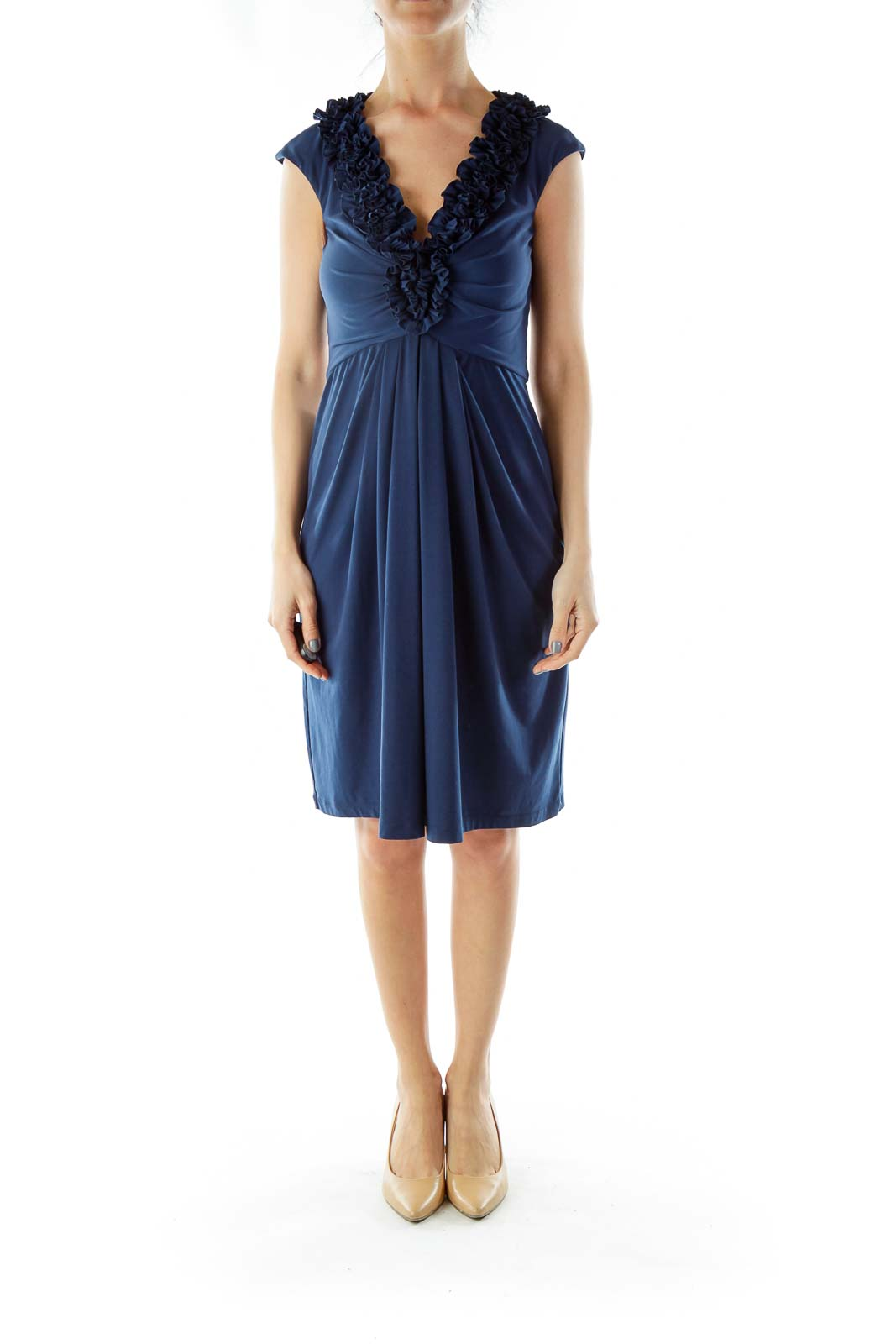 Blue Ruffled A-Line Cocktail Dress