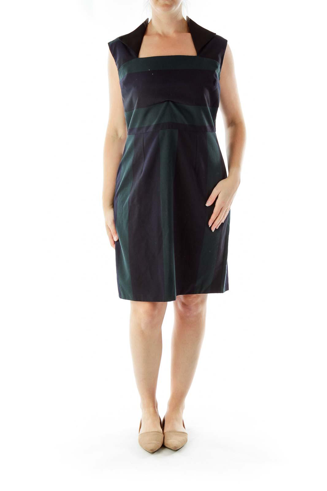 Black Green Square Neck Work Dress