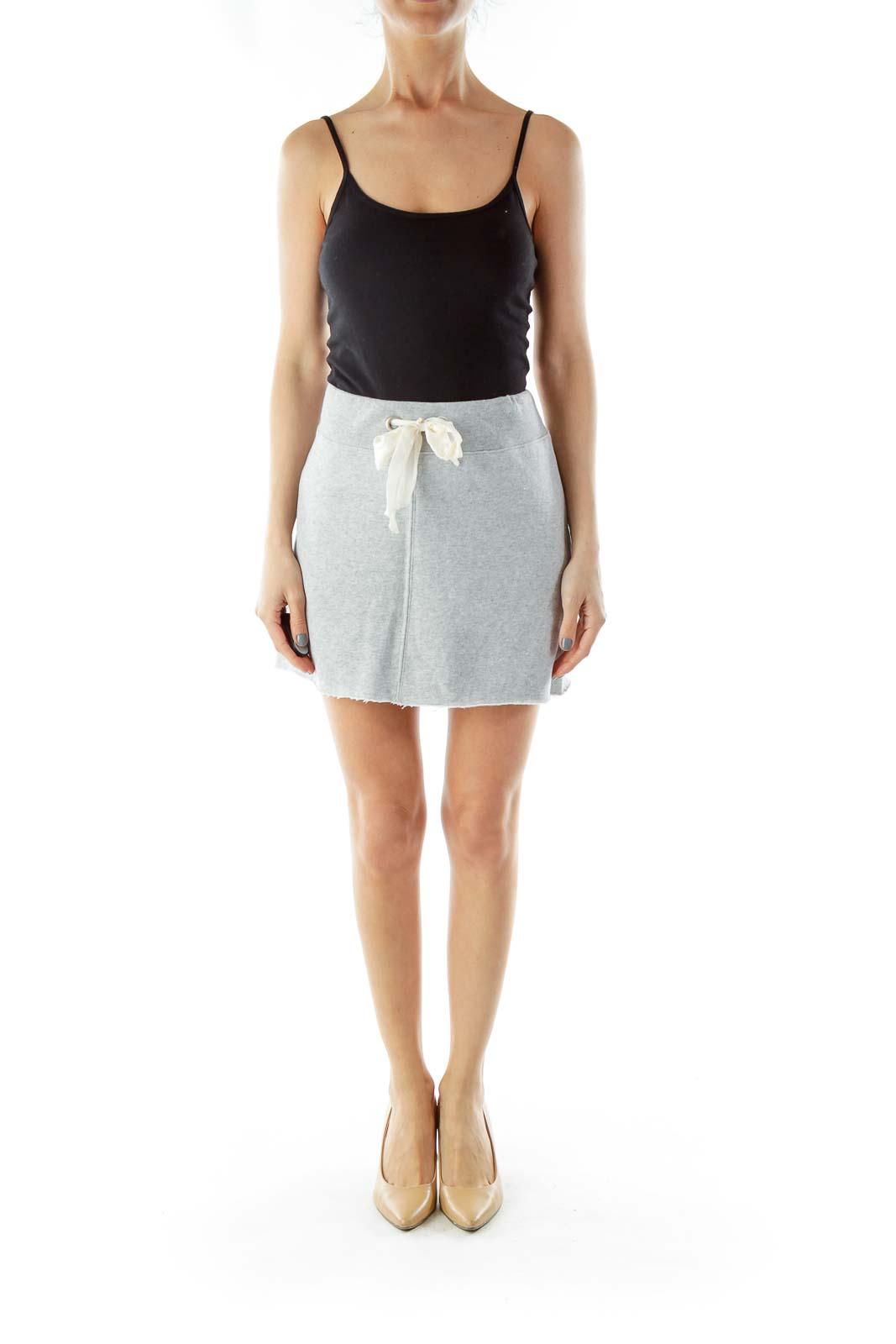 Gray Drawstring Knit Skirt