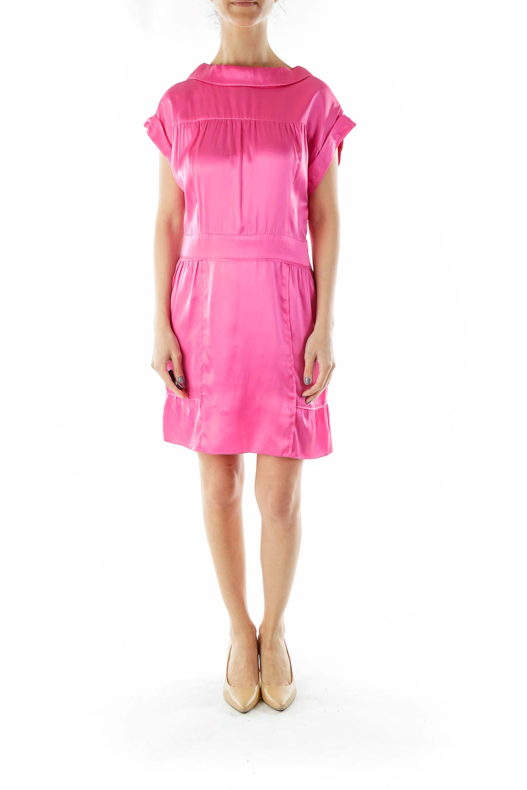 Pink Silk Cocktail Dress with Button Down Back