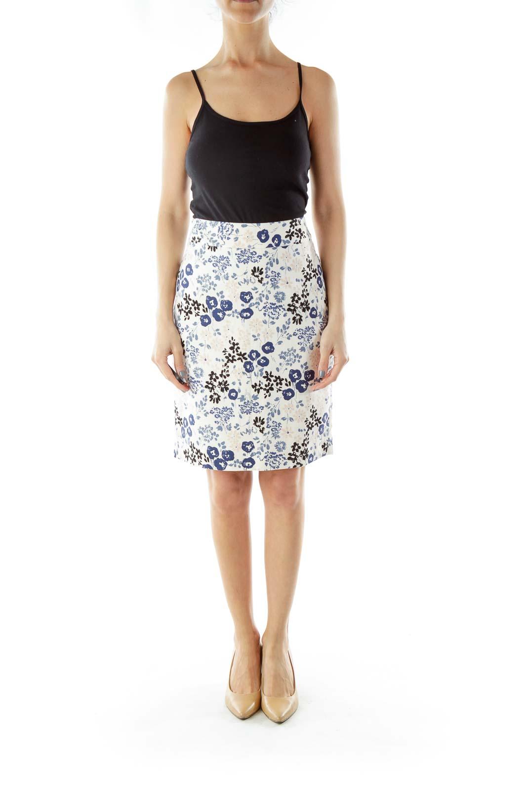 Cream Floral Pencil Skirt