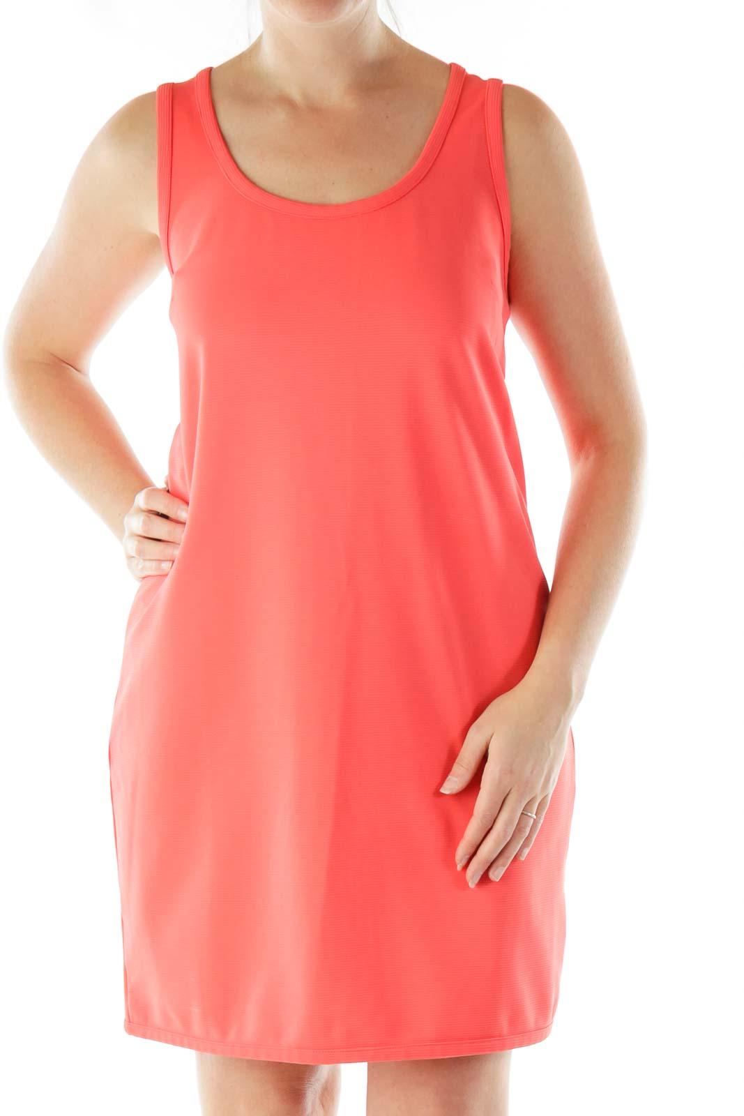 Pink Textured A-Line Dress