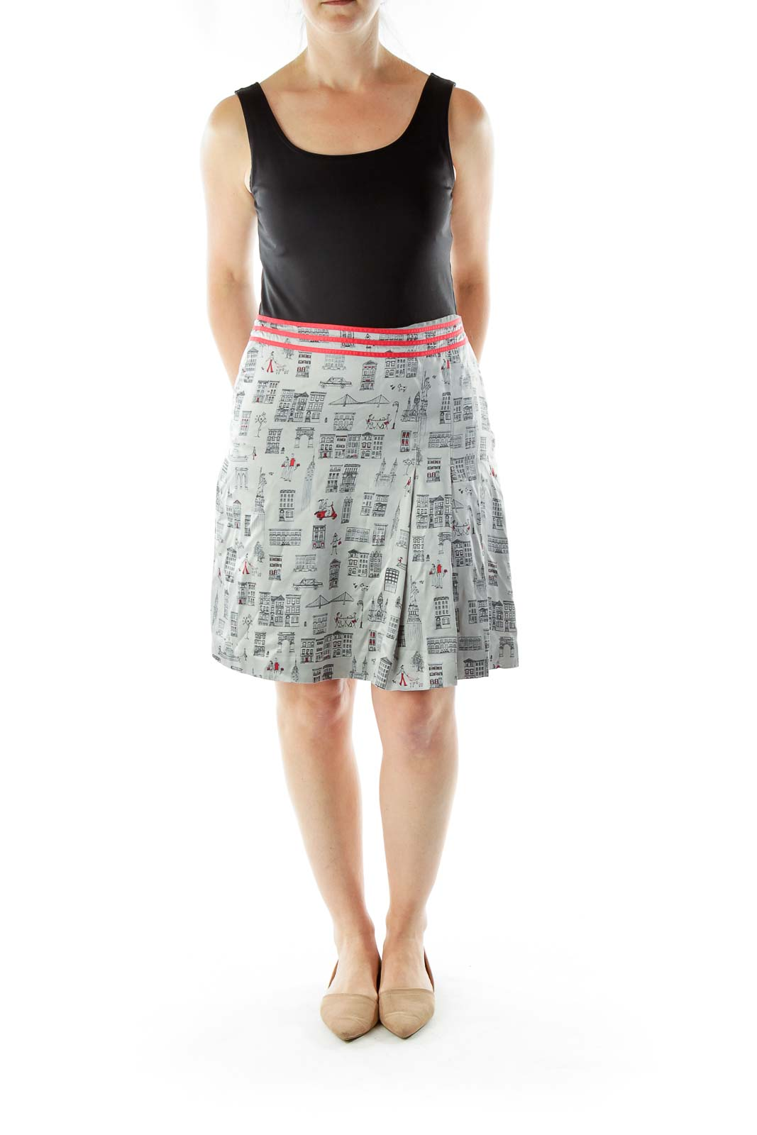 Gray Silk Print Skirt
