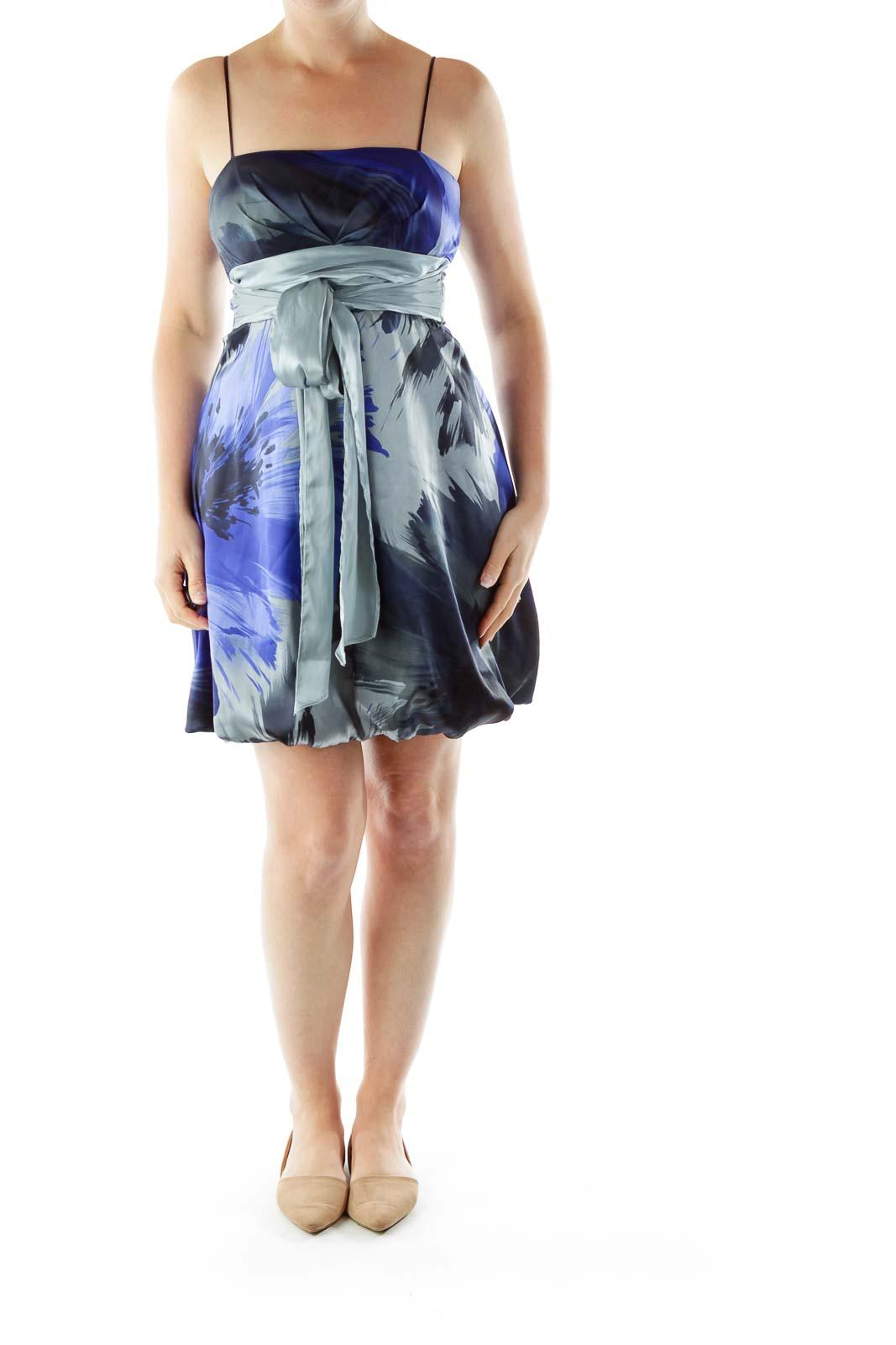 Gray Blue Printed Satin Dress