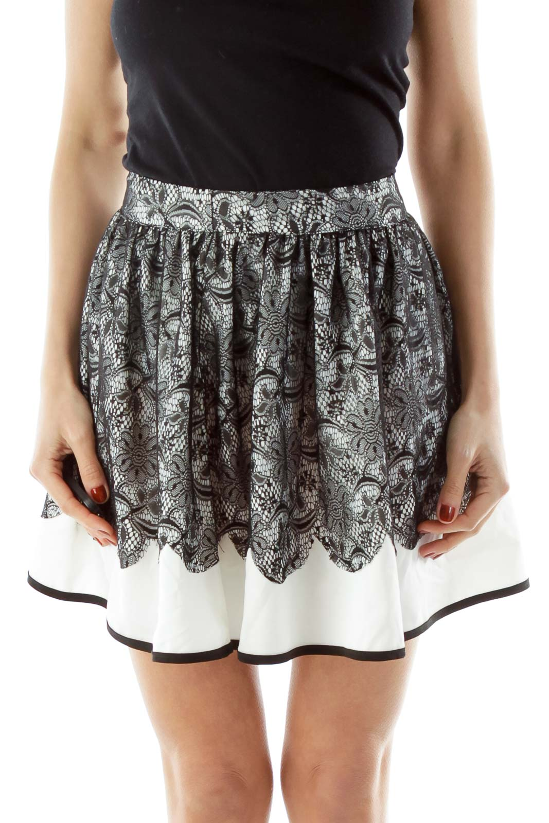 White Black Lace Flared Skirt