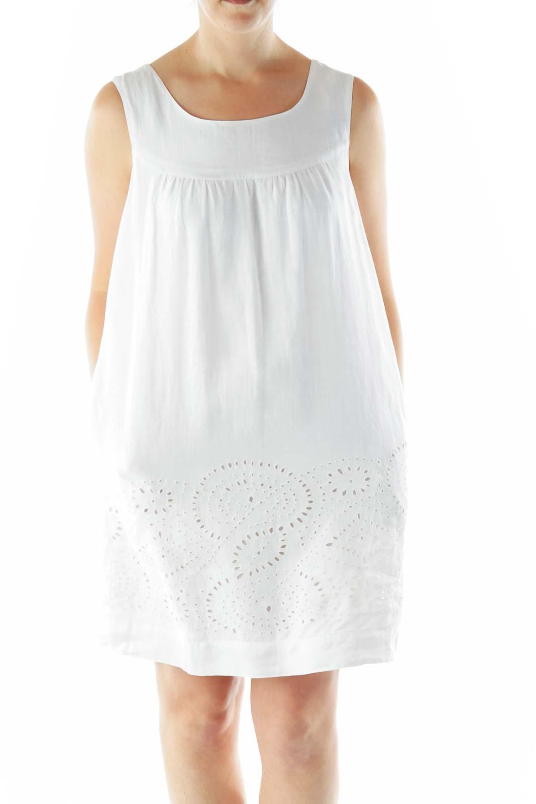 White Linen Eyelet Day Dress