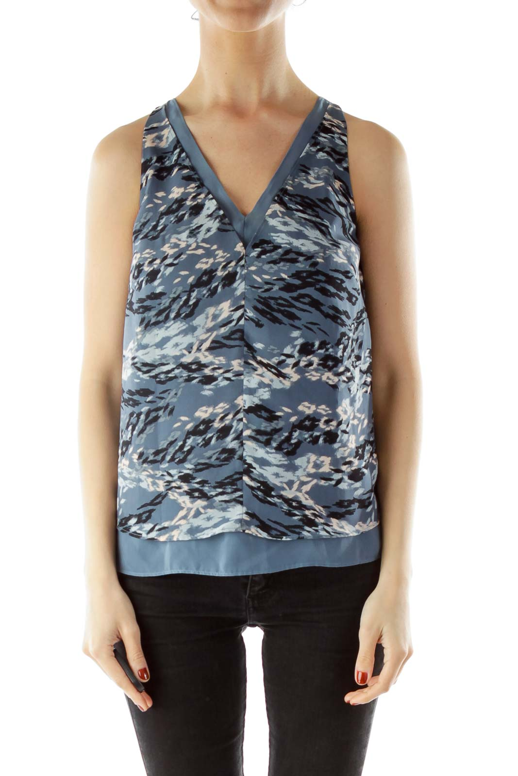 Blue V-Neck Sleeveless Print Blouse
