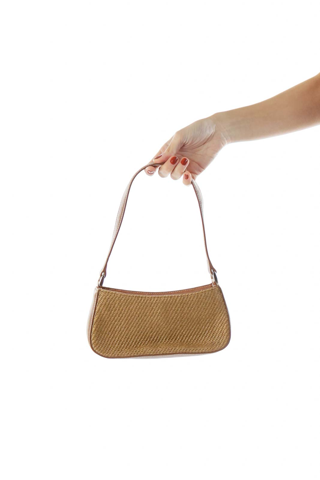 Small Brown Woven Shoulder Purse