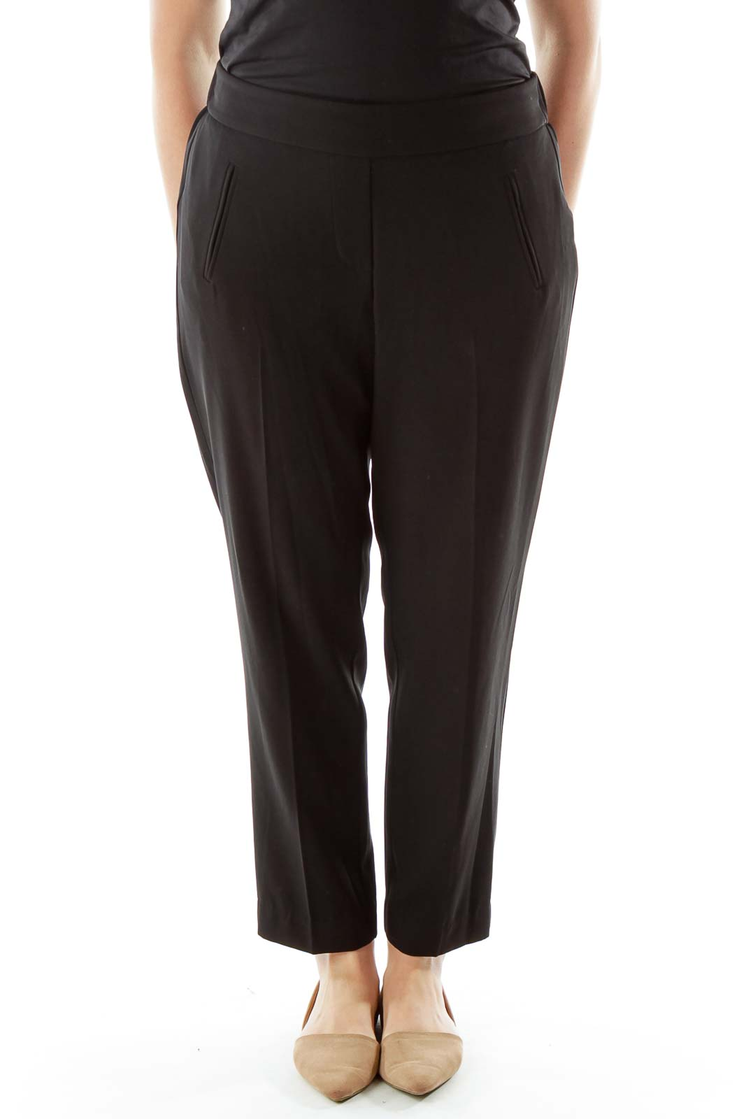 Black High-Waisted Tapered Pants