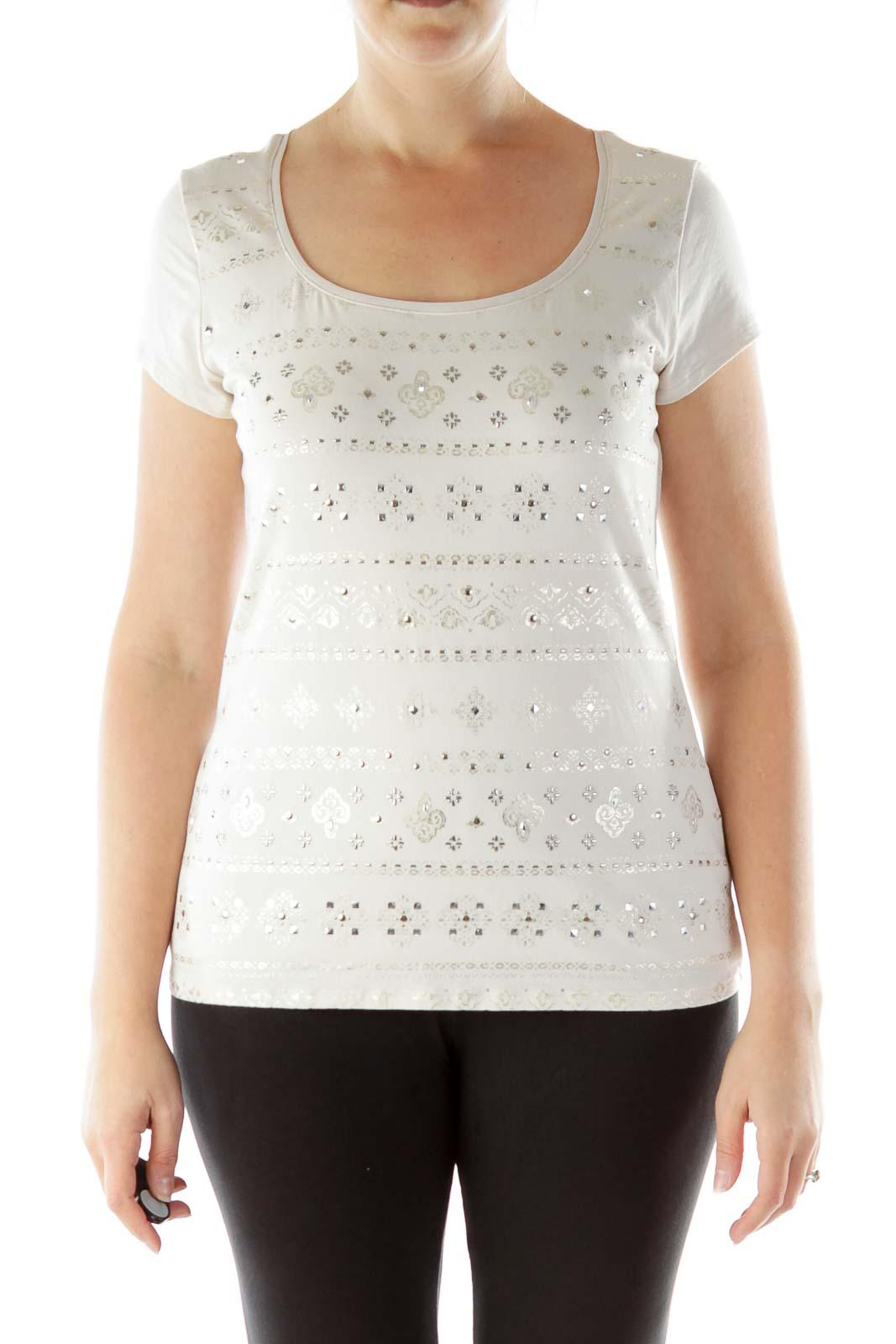 Beige Metallic Print T-Shirt
