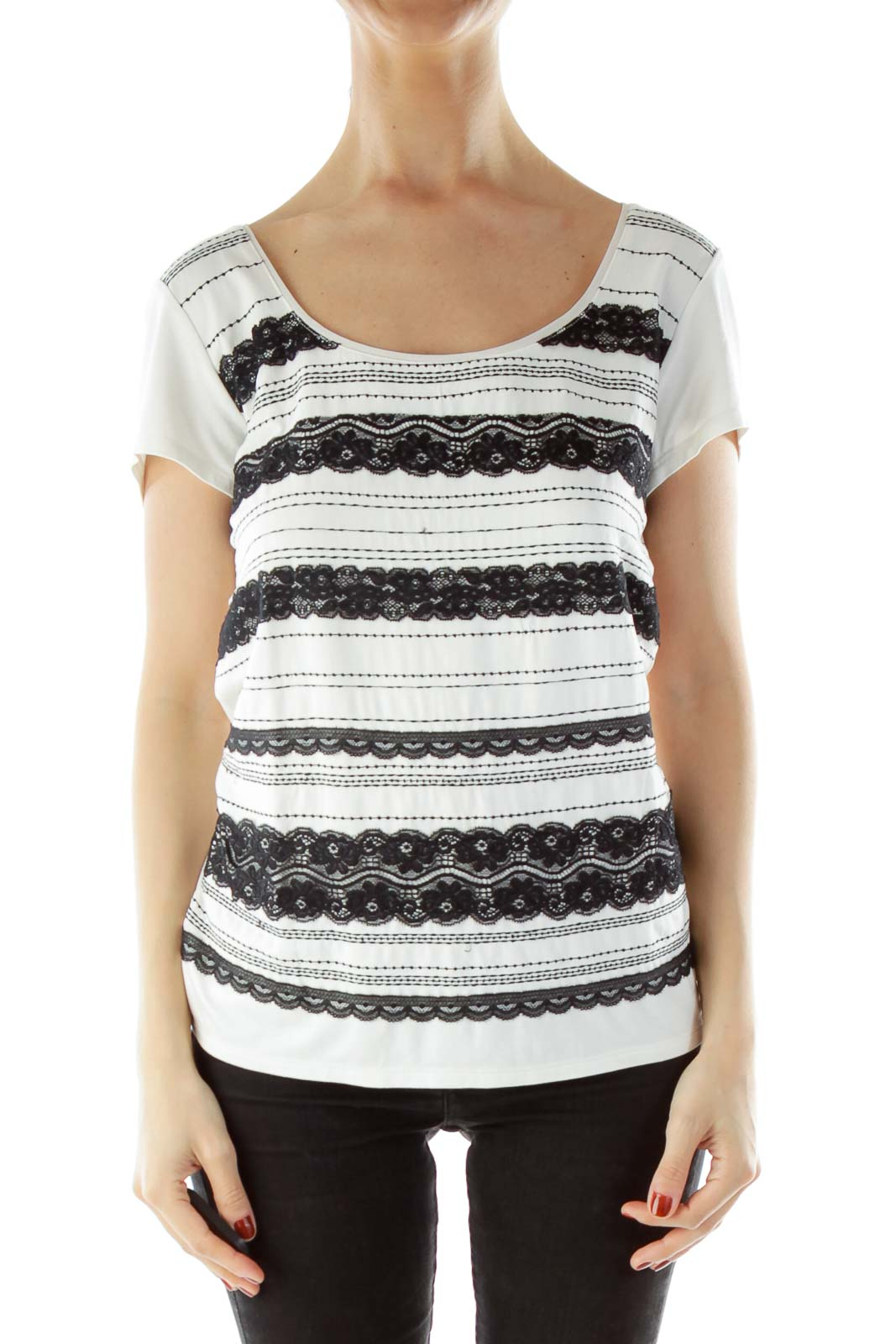White Black Lace T-Shirt