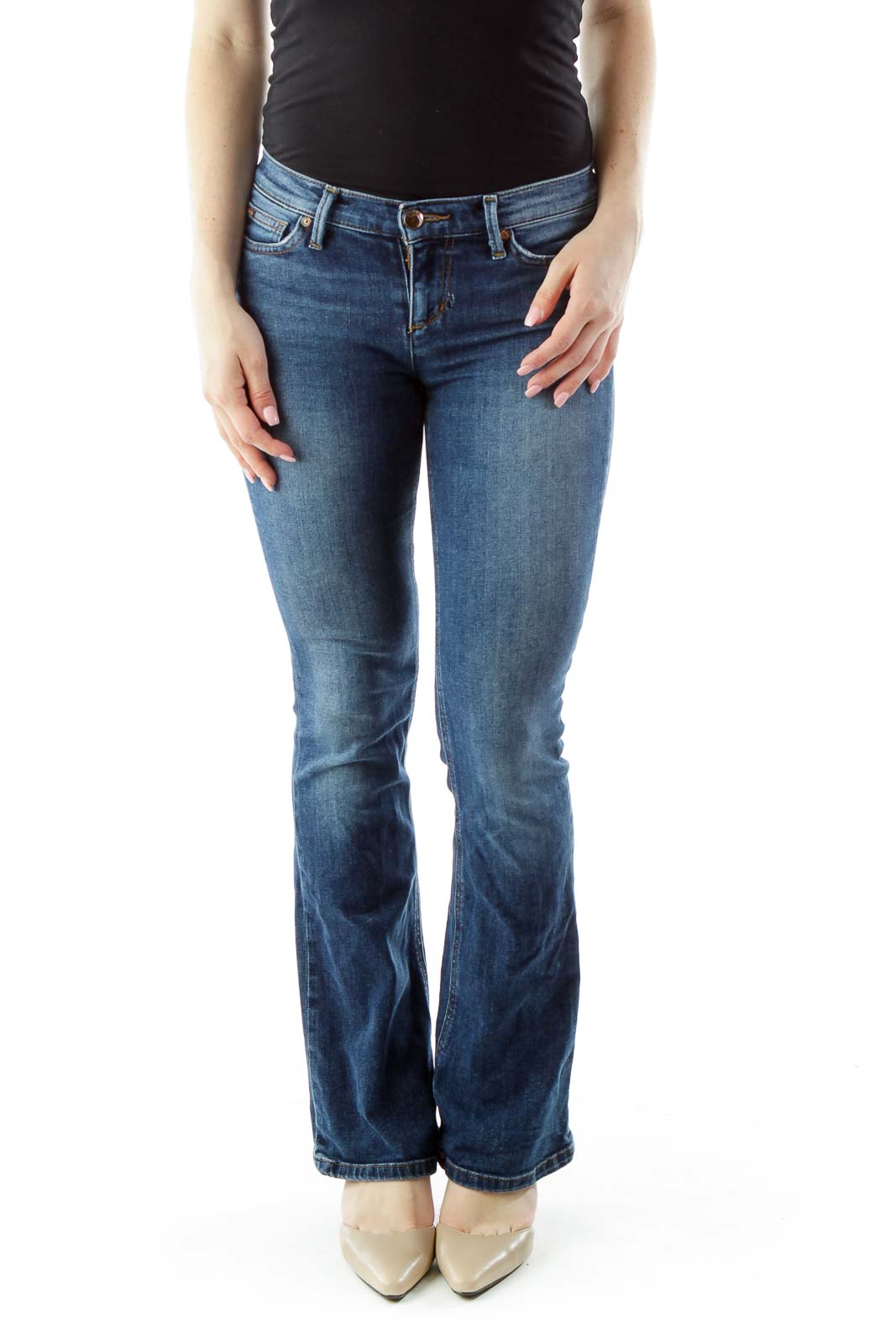 Blue Flared High-Waisted Jeans