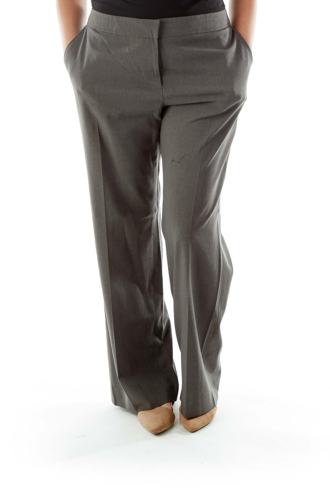 Gray Wide-Leg Slacks