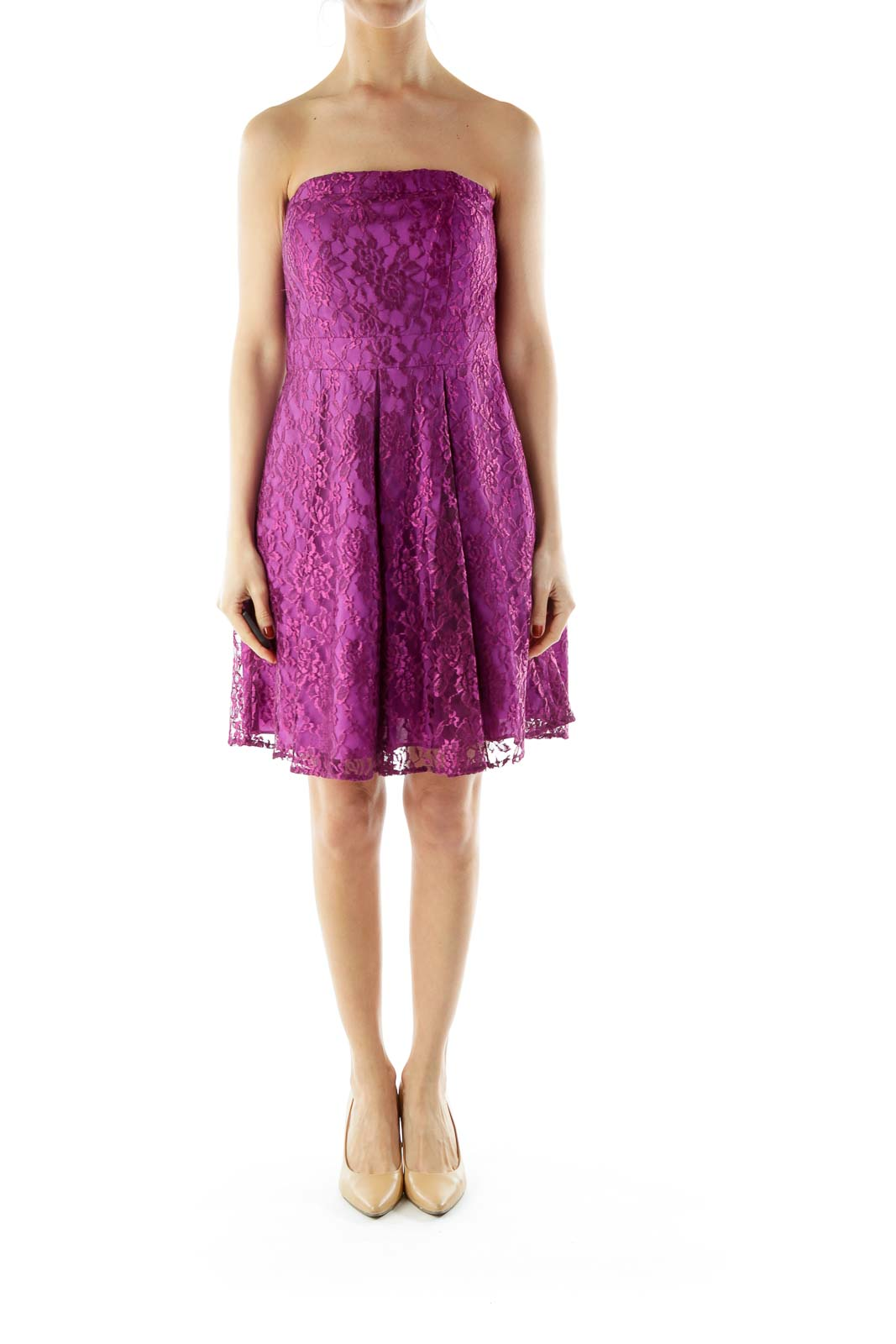 Purple Laced Strapless Dress