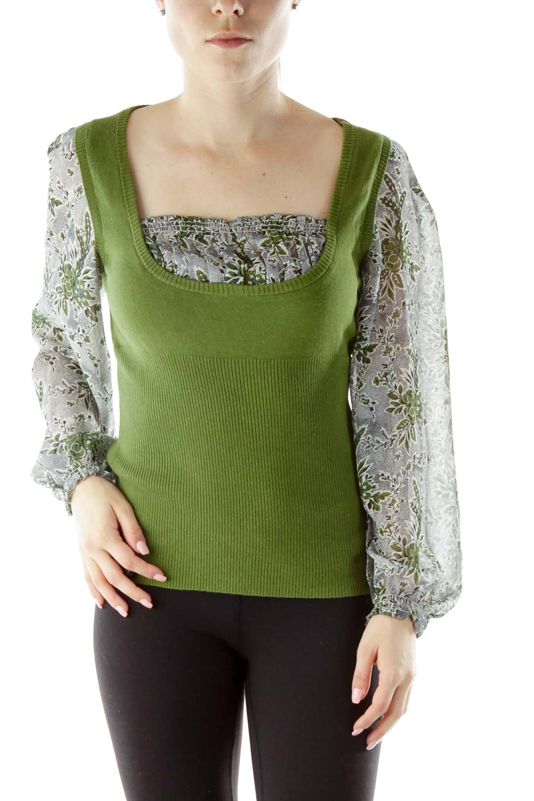 Green Blue Blouse with Knit Vest