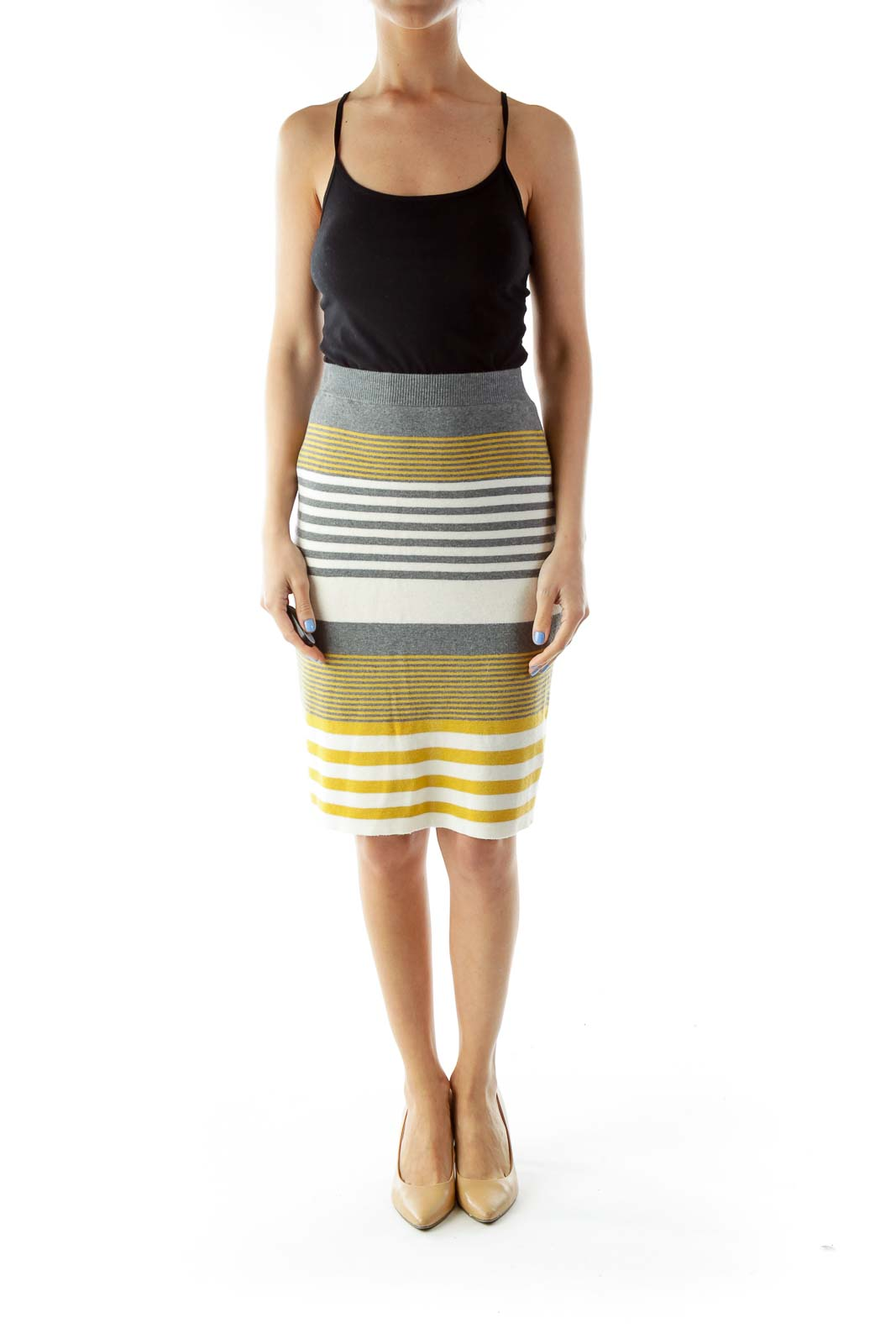 Yellow Gray Knit Pencil Skirt