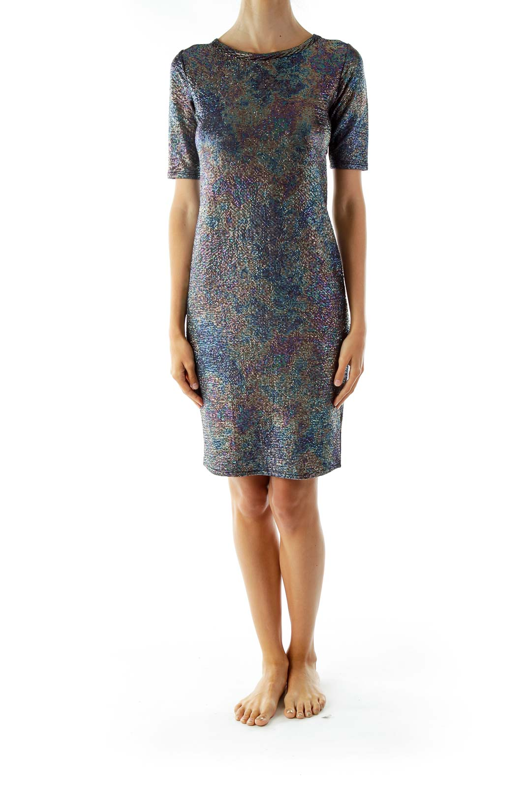 Black Multi-Color Scale Metallic Jersey Dress
