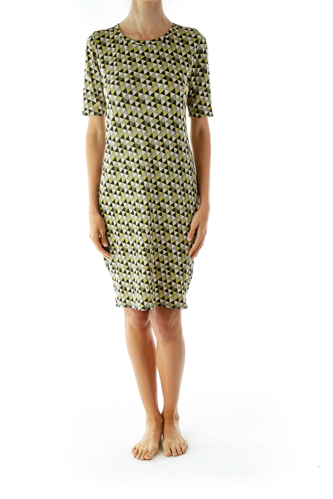 Black and Green Print T-Shirt Dress