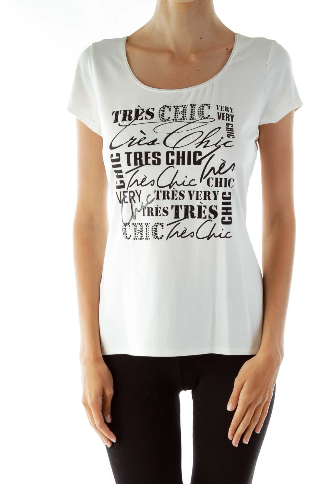 White Round Neck Studded T-Shirt