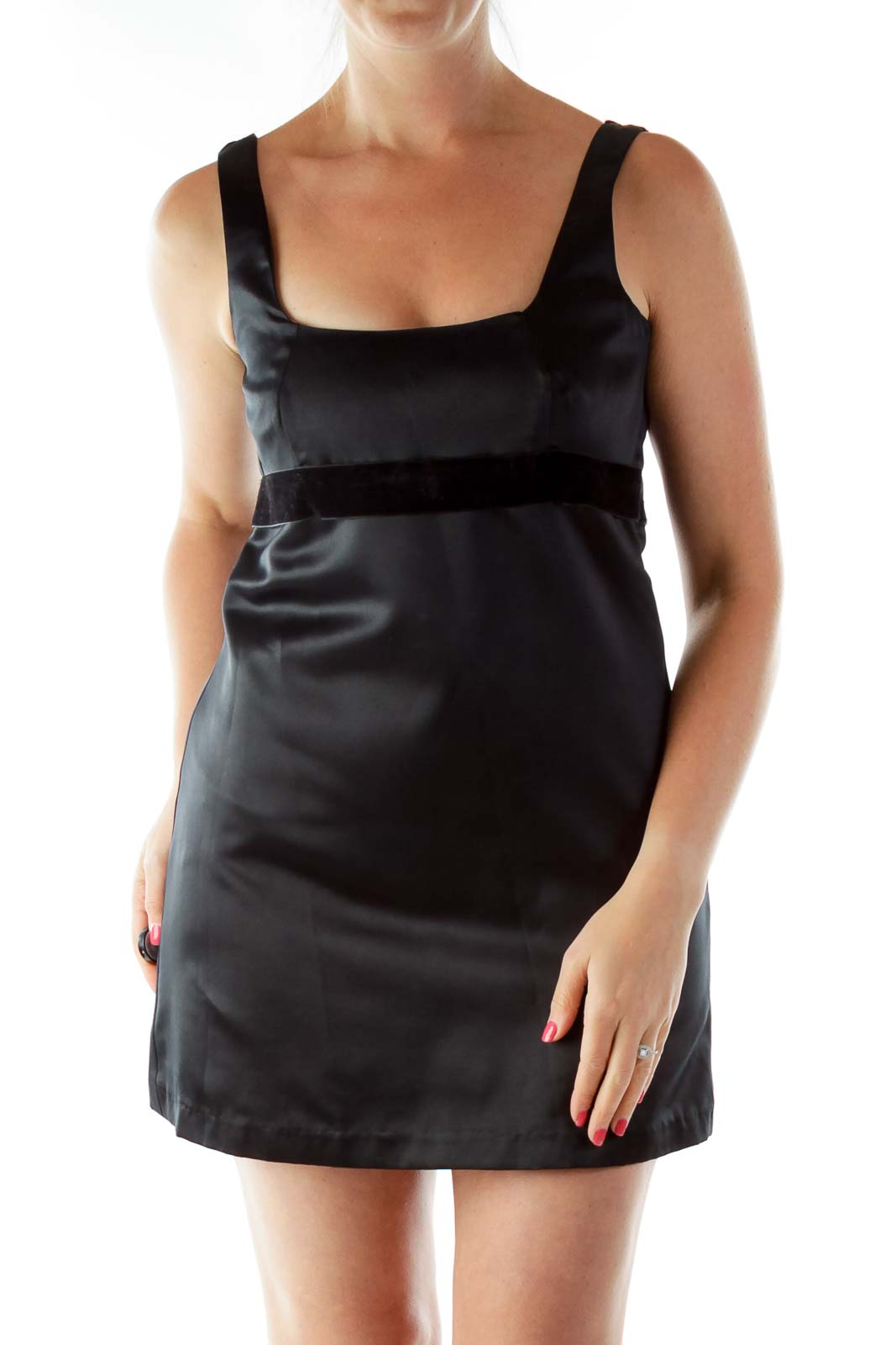 Black Belted Sleeveless Cocktail Dress