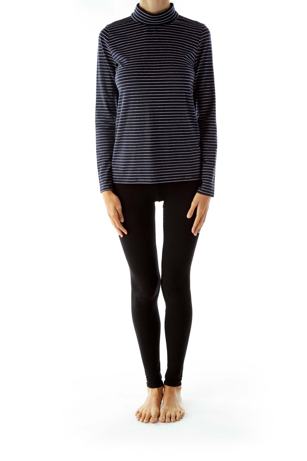 Navy Stripped Turtleneck