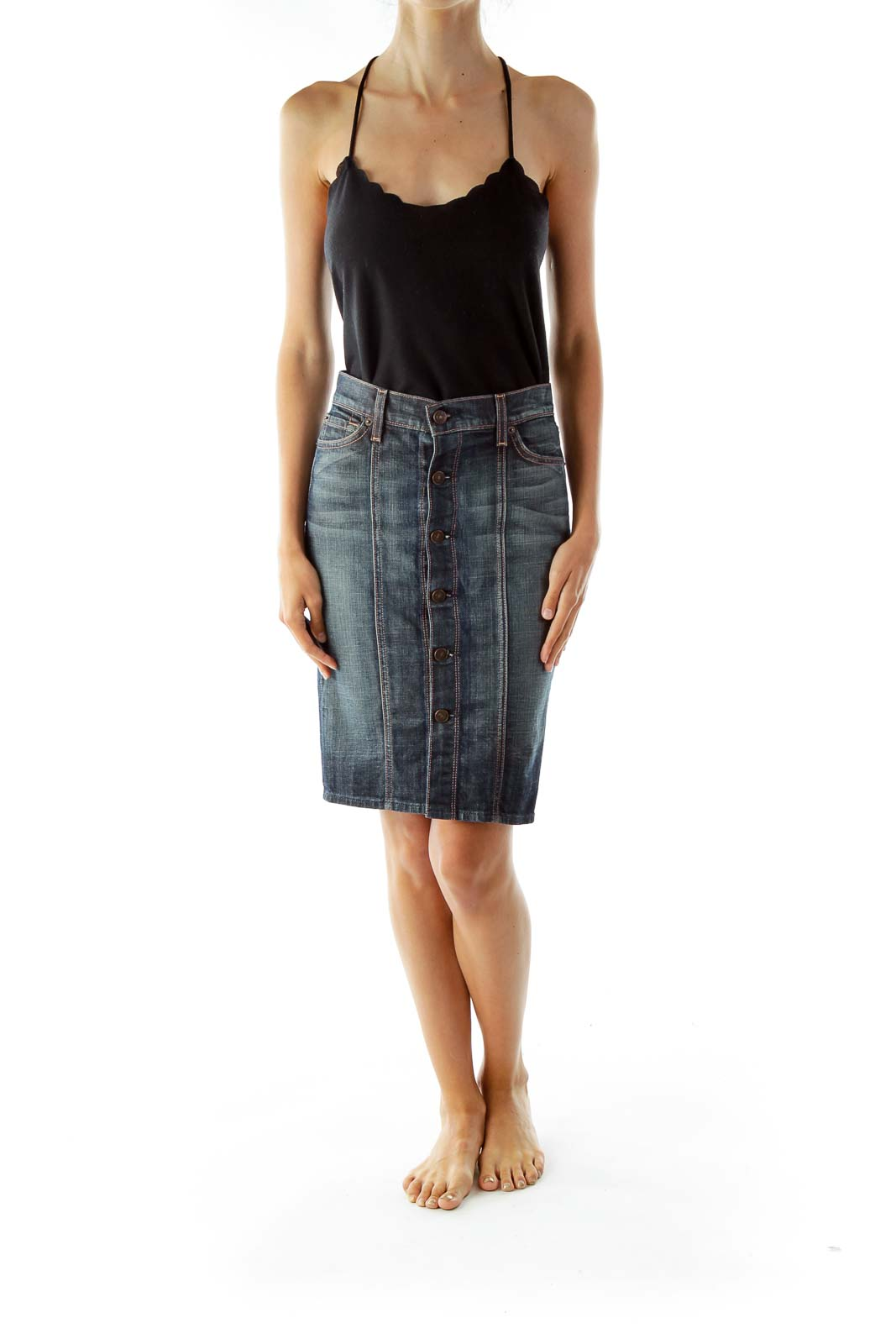Blue Buttoned Denim Skirt