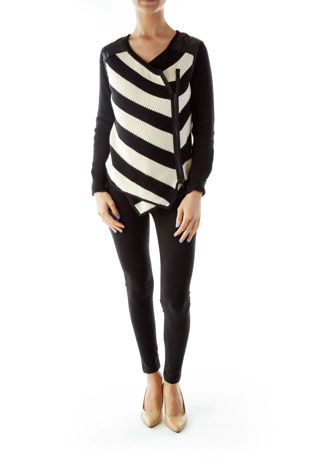 Black Cream Asymmetric Knit Sweater