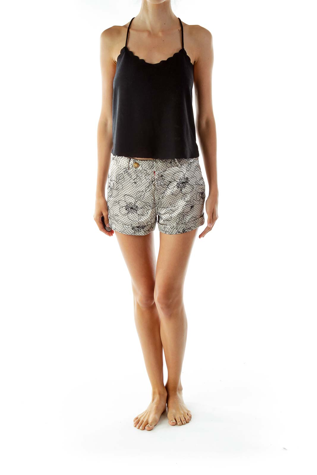 Silver Black Flower Silk Shorts