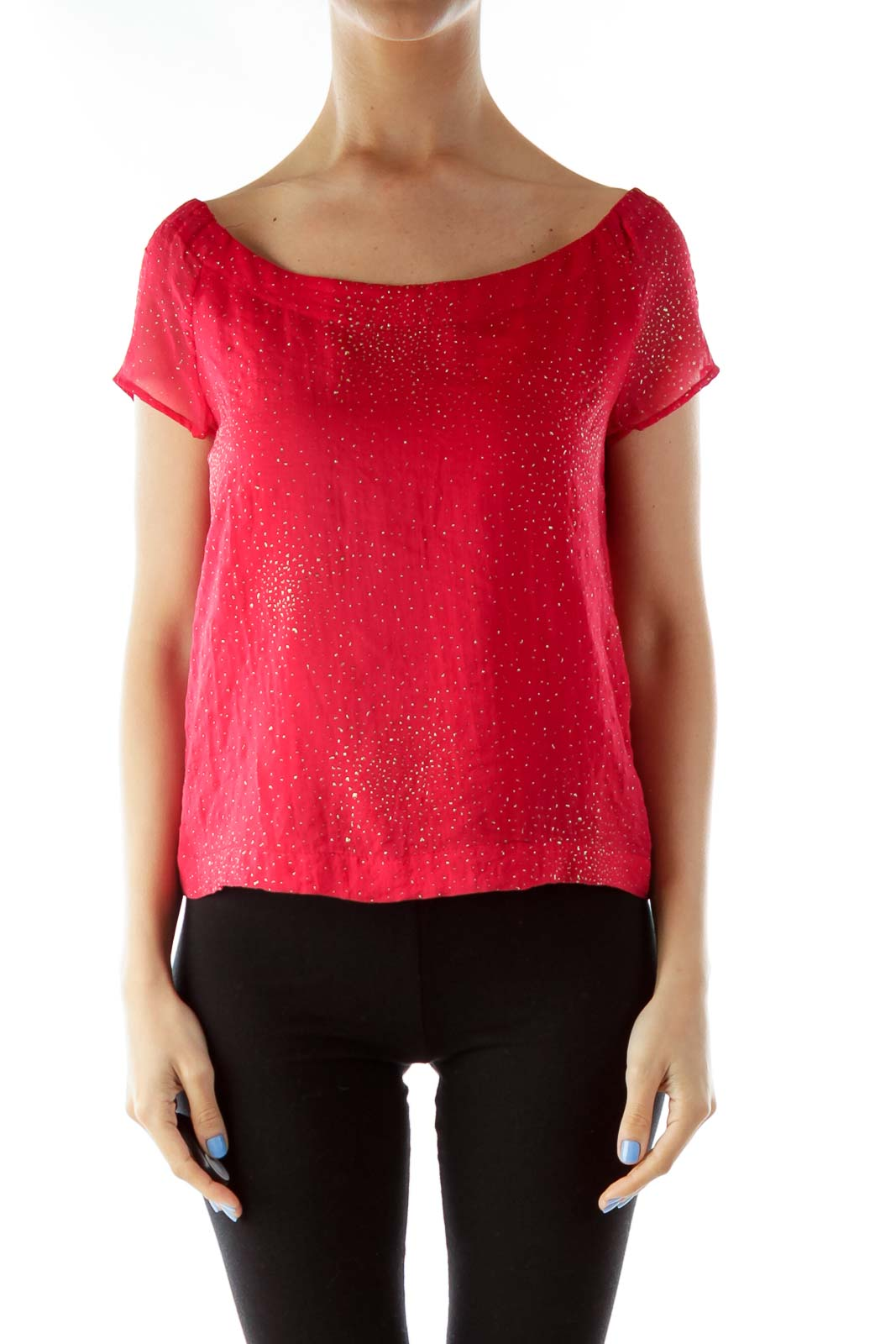 Red Gold Boat Neckline Blouse