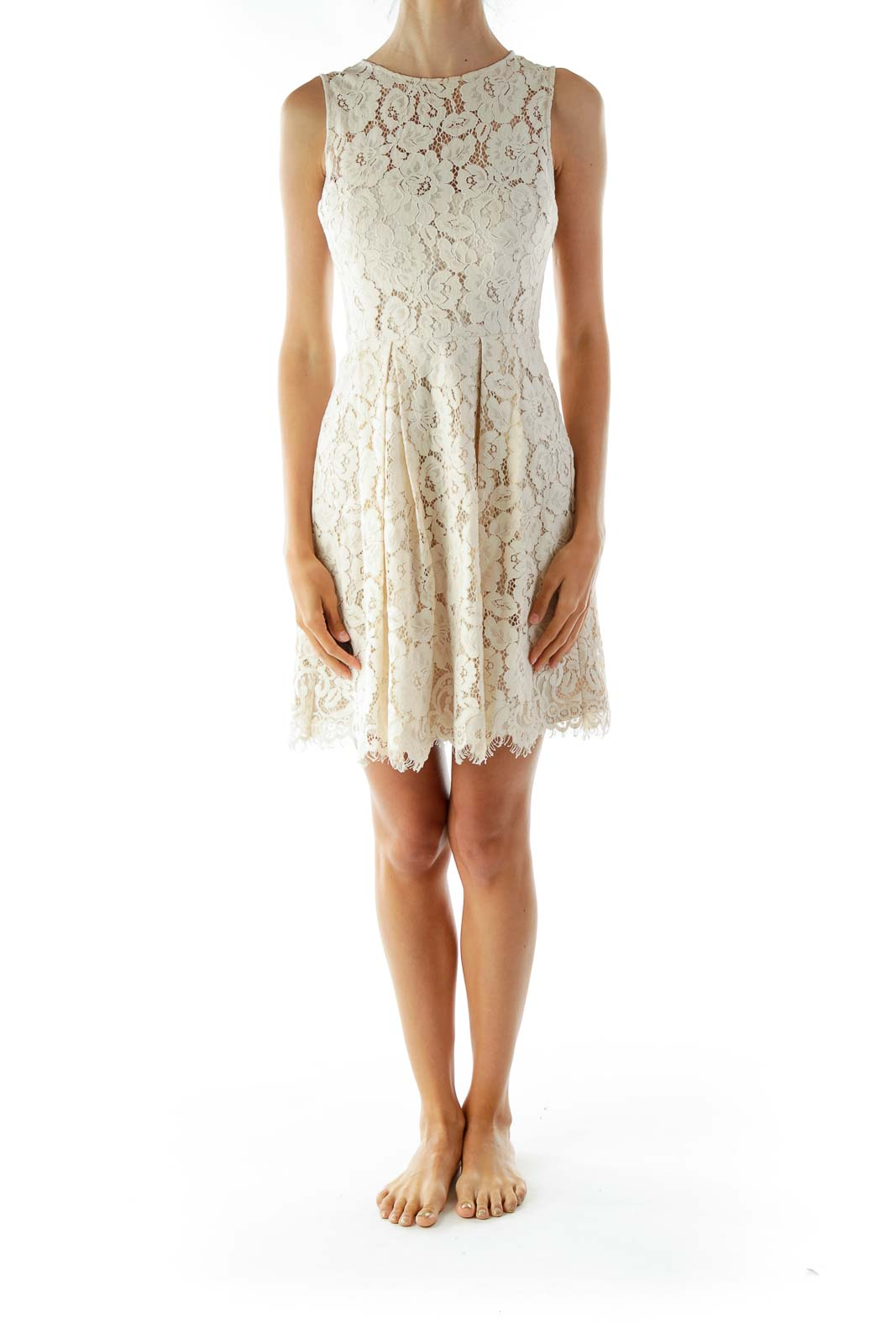 Cream Lace Sleeveless Day Dress