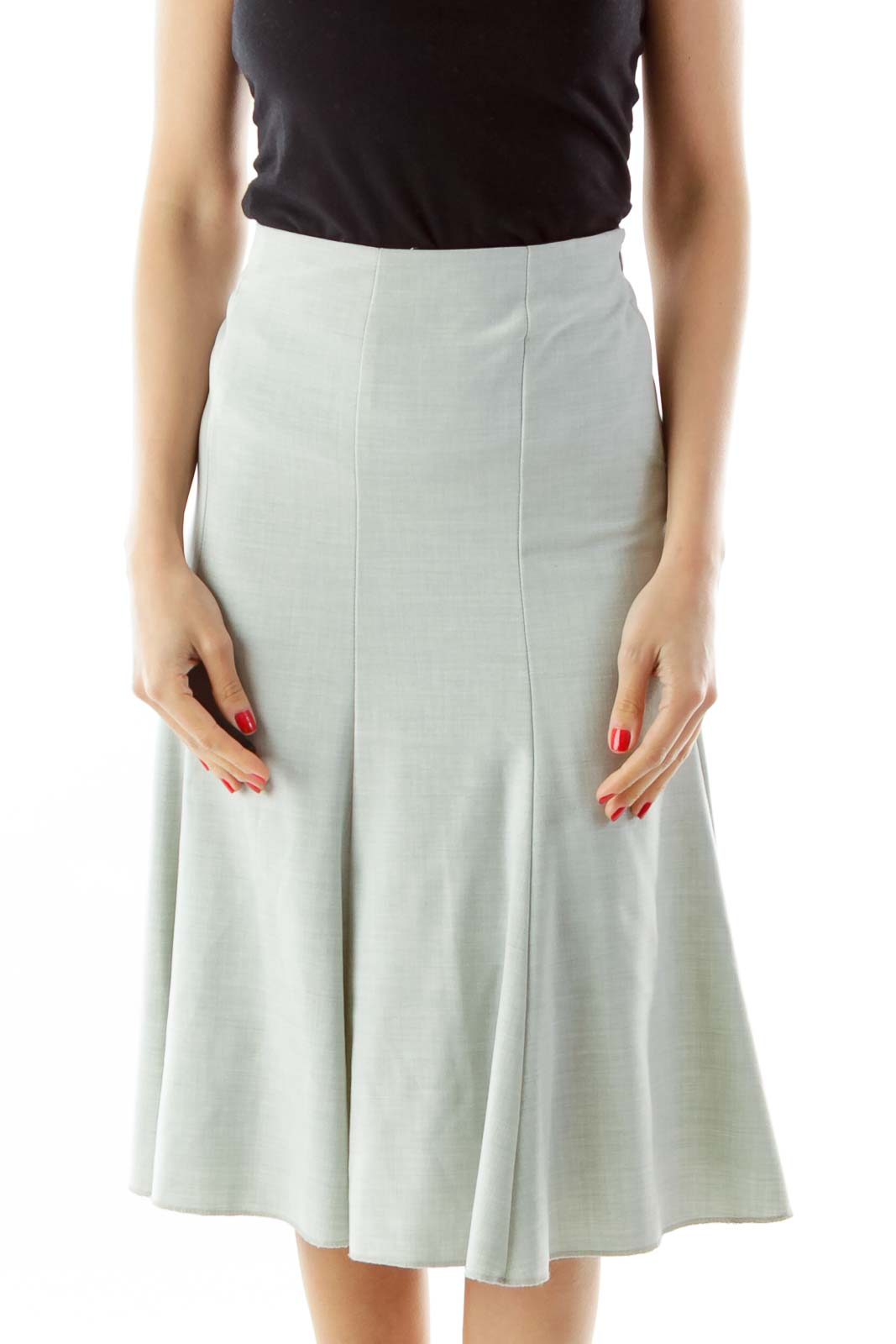 Gray Flared Midi Skirt
