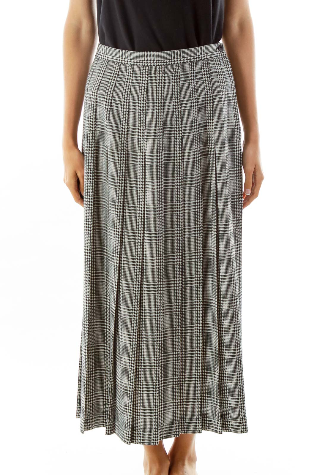 Black White Houndstooth Pleated Maxi Skirt