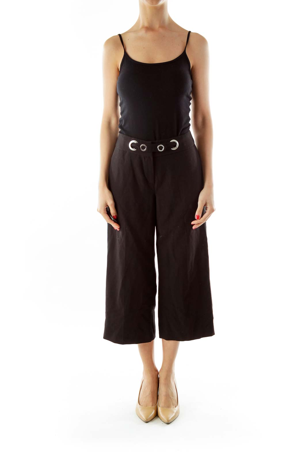 Black Cropped Belted Straight-Leg Pants