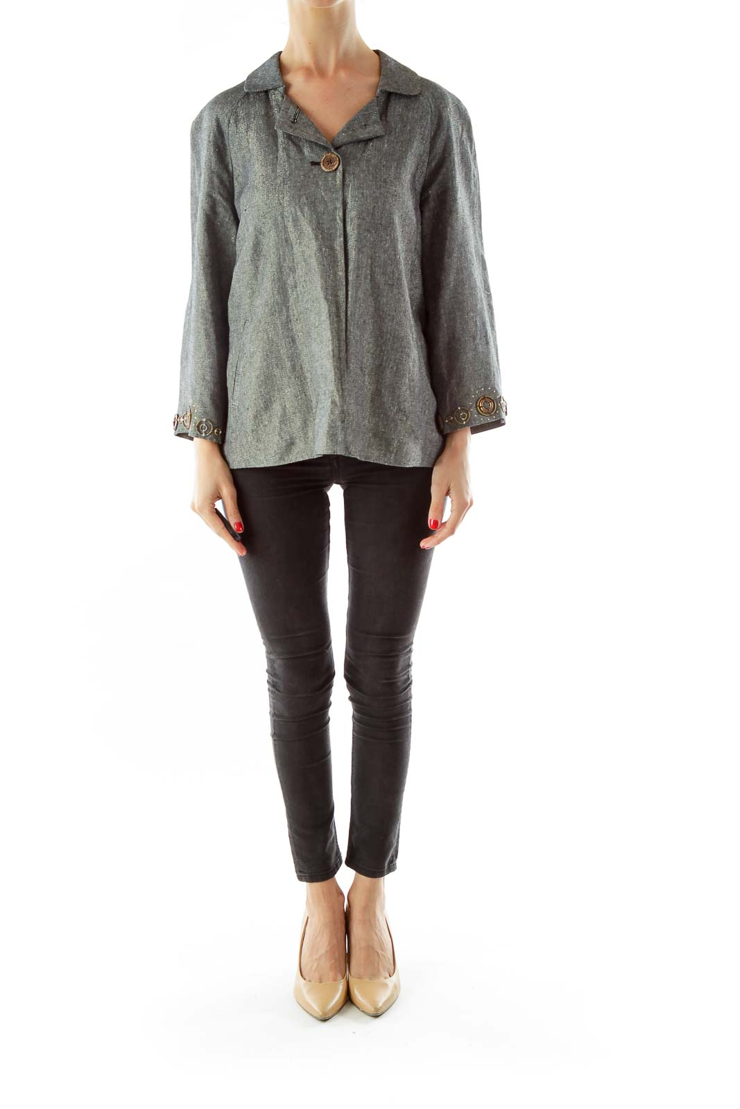 Gray Metallic Blazer