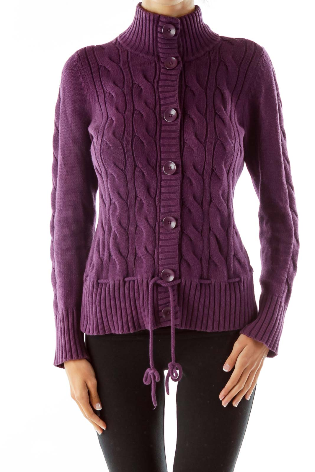 Purple Knit Tie Cardigan