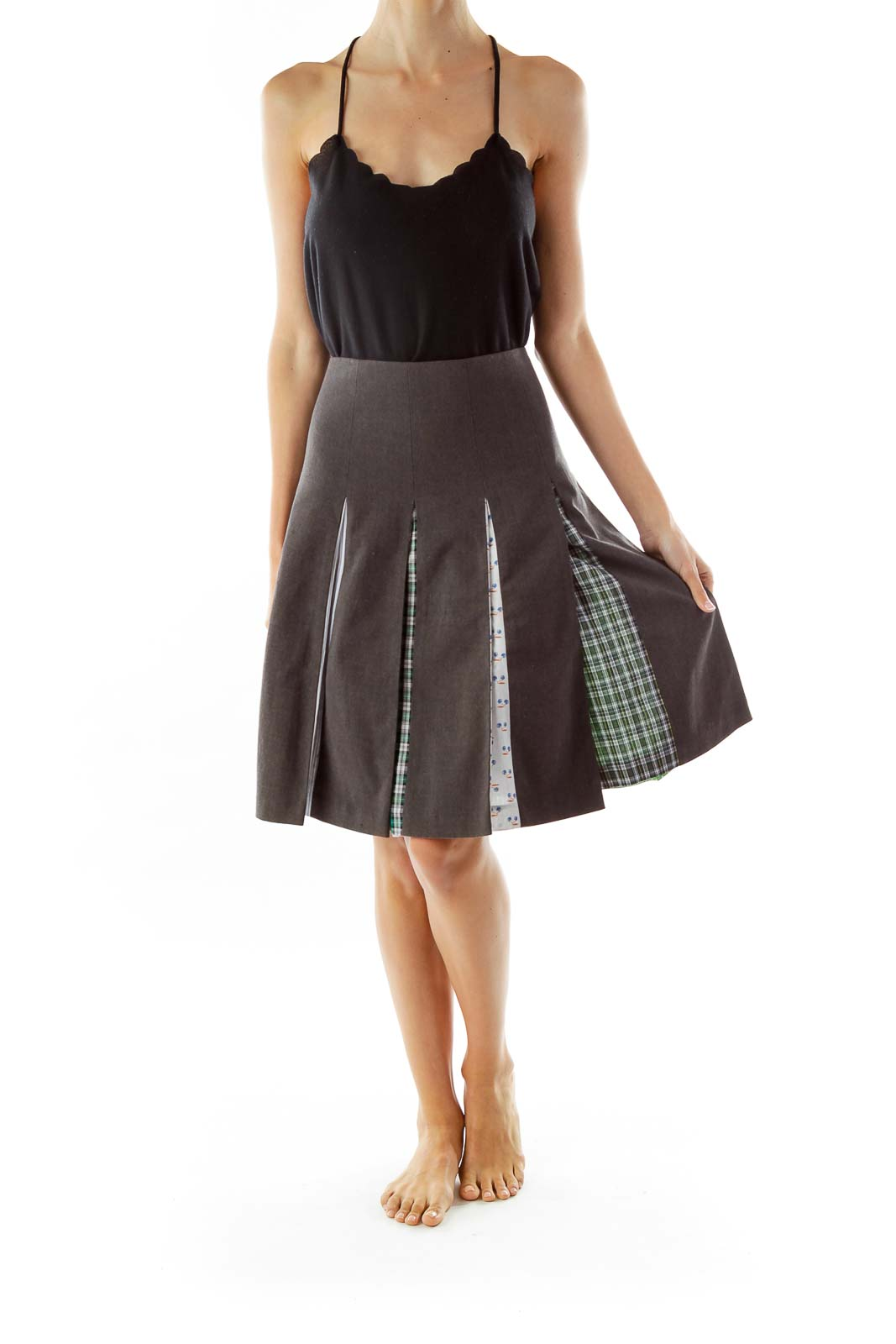 Gray Pleated Midi Skirt
