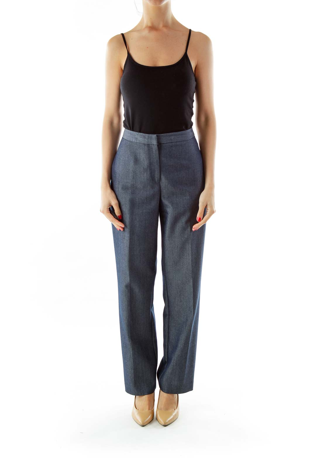 Gray Straight-Leg Suit Pants