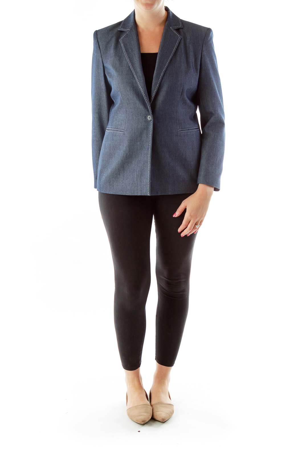 Gray Fitted Stitched Suit Jacket