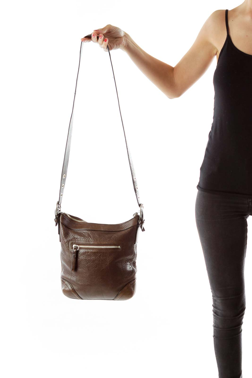 Brown Zippered Crossbody Bag