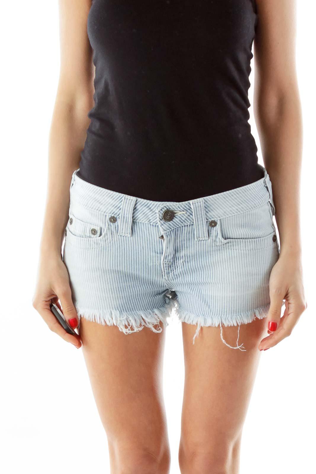 Blue White Striped Shorts