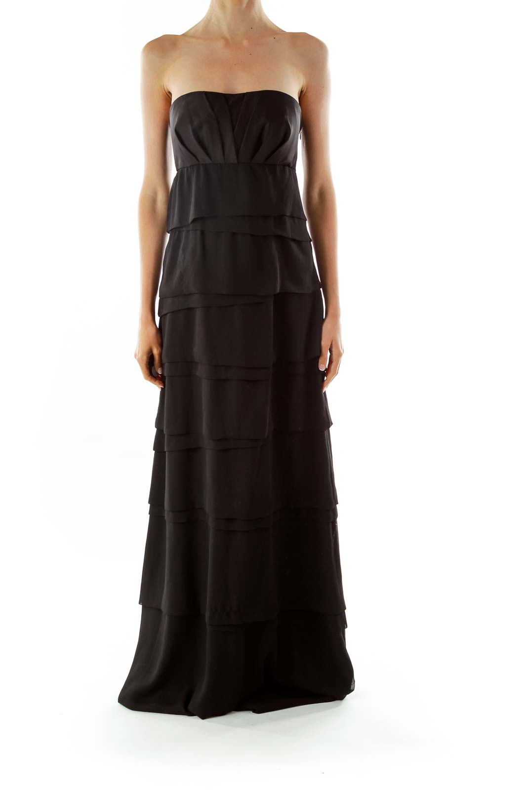 Black Ruffled Evening Dress