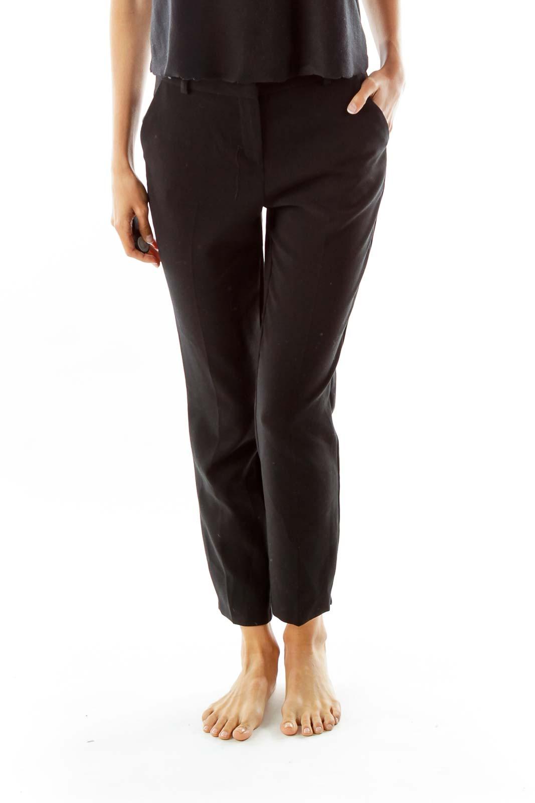 Black Pocketed Skinny Suit Pants