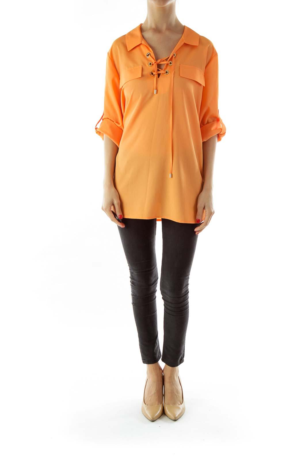 Orange Lace-Up Loose Shirt