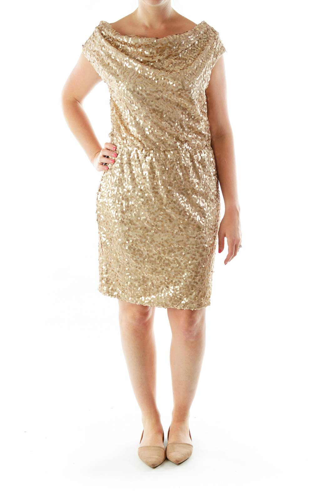Gold Sequined A-Line Cocktail Dress